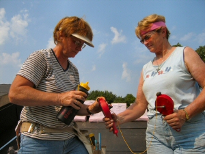 Sandy and Judy fill Double Chalkers with Magichalk