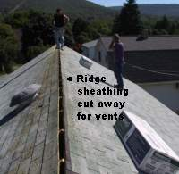 Cut roof sheathing for ridge vents